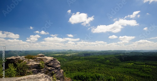 Fotobehang Zomer Summer landscape with forests, meadows rocks and sky