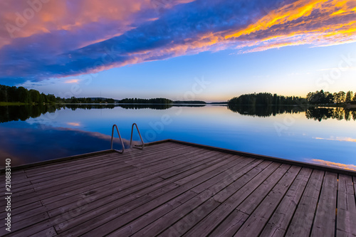 Summer night lake view from Sotkamo, Finland.