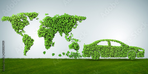 Leinwanddruck Bild Concept of clean fuel and eco friendly cars - 3d rendering