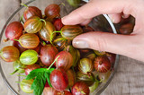 Fresh gooseberry on wooden background