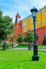 View of the Kremlin and Alexander Garden in Moscow in summer.