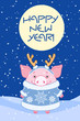 Pig in a fur coat with antlers on his head in the winter evening. Symbol of the new year in the Chinese calendar. 2019. Illustration for postcards, stickers, posters.