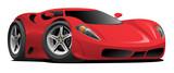Red European Style Sports-Car Cartoon Vector Illustration