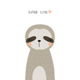 Cute little sloth. Kids fashion print. Vector hand drawn illustration. - 210896959