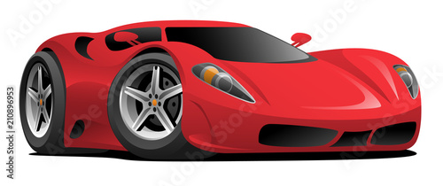 Red European Style Sports-Car Cartoon Vector Illustration - 210896953