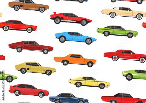 Plexiglas Auto Cartoon muscle cars. Seamless pattern background. Flat vector.
