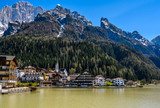 Lakeside village in the Dolomites, Italy