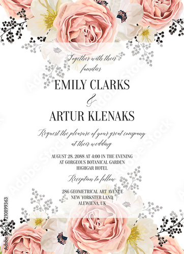 Wedding Floral Watercolor Invite Invitation Save The Date Card