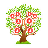 Big family tree template with people icons - 210899732