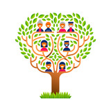 Big family tree with happy people icons - 210899758