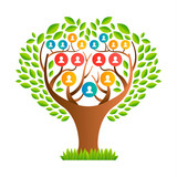 Big family tree template with people icons - 210899761