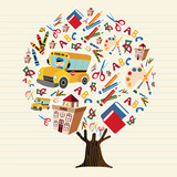 Tree of kids school icons for education concept - 210899917