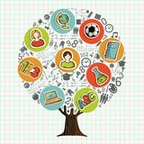 Tree made of school icons for education concept - 210899919