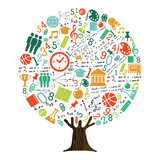 Tree of school subject icons for education concept - 210899921