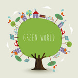 Green planet earth tree with sustainable city - 210899960