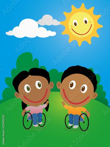 Happy children in wheelchair - 210903510