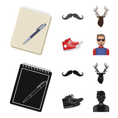 Hipster, fashion, style, subculture .Hipster style set collection icons in cartoon,black style vector symbol stock illustration web. © pandavector