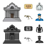 Picture, sarcophagus of the pharaoh, walkie-talkie, crown. Museum set collection icons in cartoon,black style vector symbol stock illustration web. © pandavector