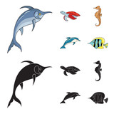Merlin, turtle and other species.Sea animals set collection icons in cartoon,black style vector symbol stock illustration web.