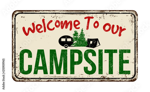 Aluminium Vintage Poster Welcome to our campsite vintage rusty metal sign