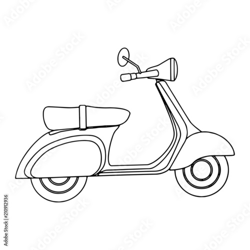 Motorcycle cartoon illustration isolated on white background for children color book