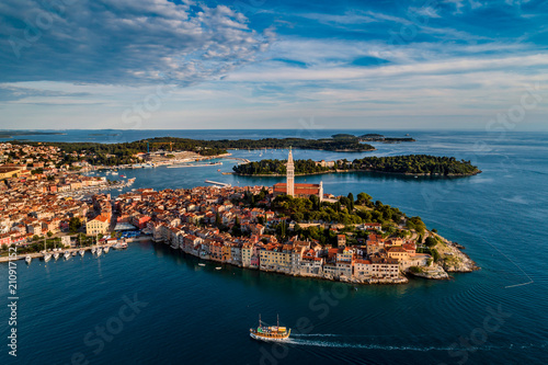 Leinwanddruck Bild Beautiful Rovinj at sunset - HDR aerial view taken by a professional drone from above the sea. The old town of Rovinj, Istria, Croatia