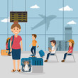 young woman with dog in the airport vector illustration design