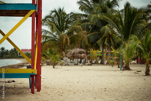 Lifeguard stand on the beach.