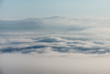 sea of clouds over the forest, Black and white tones in minimalist photography - 210936945