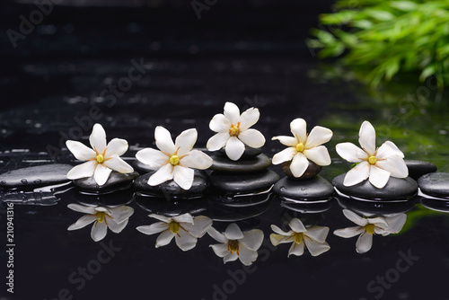 Spa still life with pebbles and gardenia with green leaf  - 210941316