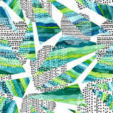 Seamless Pattern of Watercolor Green Triangles and Black Dots - 210944904