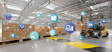 Logistic organisation on a warehouse background 3d rendering - 210949701