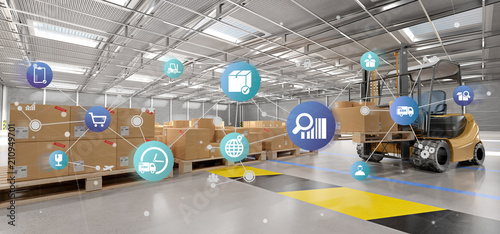 Logistic organisation on a warehouse background 3d rendering