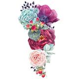 Watercolor floral composition - 210954949