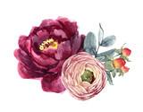 Watercolor floral composition - 210954953