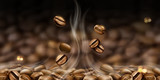 Hot coffee beans background - 210955787