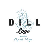 Dill logo original design, culinary spicy herb emblem vector Illustration on a white background - 210956575