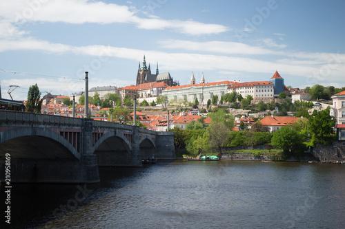 Prague landscape and Prague's bridge. Czech in spring