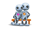 little robot hugging sit on bench - 210958976