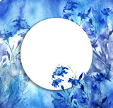 Watercolor bouquet of blue flowers, Beautiful abstract blue splash of paint. cornflower, blue flowers and grass, wildflowers, field or garden flowers.Watercolor greeting card, frame.