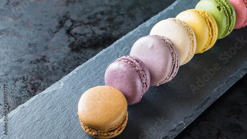 Fotobehang Macarons French macarons on slate background