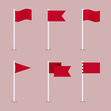 Colored flat icon, vector design. Set of mapping pointers and flags for illustration of route, road, travel, territory, map, destinations - 210966390