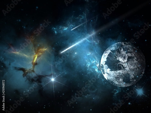 Planets and galaxy, science fiction wallpaper. Beauty of deep space. Billions of galaxies in the universe Cosmic art background - 210968172