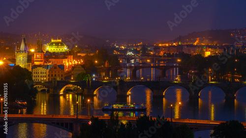 Prague night views of the city.