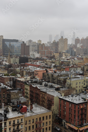 Fotobehang New York Aerial view on east village manhattan on a foggy day