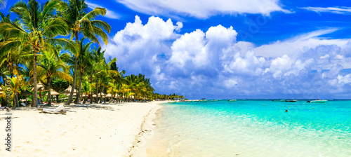 Plexiglas Freesurf Tropical vacations. Splendid white sandy beaches of Mauritius island