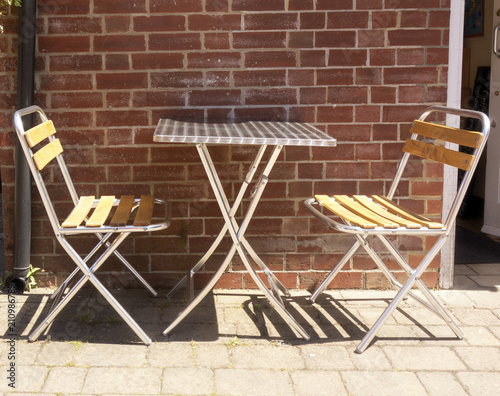 Bistro Cafe Chairs and Table Outside  - 210986789
