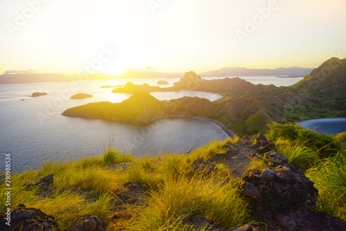 Panoramic view of majestic Padar Island during magnificent sunset.