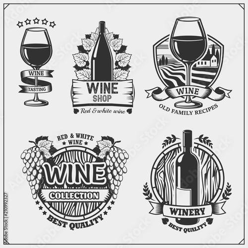 Fotobehang Wit Collection of Wine shop vintage emblems, labels, badges and design elements.