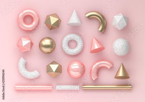 set-3d-odplaca-sie-realistycznych-prymitywy-na-rozowym-tle-pojedyncze-elementy-graficzne-kule-torusy-tuby-stozki-i-inne-geometryczne-ksztalty-w-zlotych-metalicznych-i-bialych-kolorach-dla-modnych-wzorow